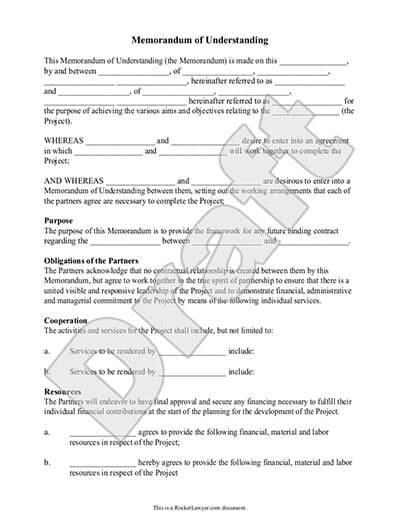 Sample Memorandum of Understanding document preview