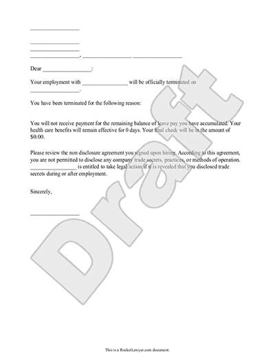 Sample Termination Letter To Employee from www.rocketlawyer.com
