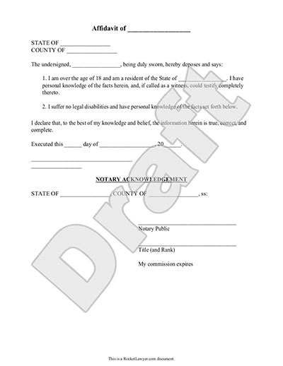 Sample Notary Statements Sample Affidavit Form Template Affidavit