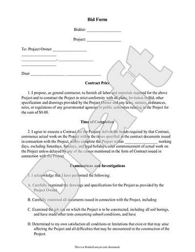 Bid Form Bid Proposal Template for Contractor Construction – Simple Construction Contract Form