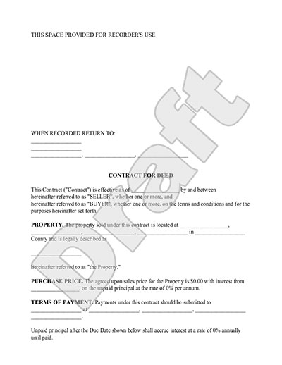 Contract for Deed Form Land Contract Template with Sample – Simple Sales Contract Form