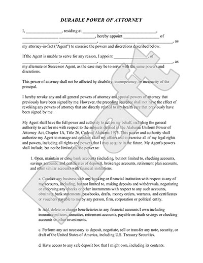 Durable Power of Attorney Form – Sample Durable Power of Attorney Form