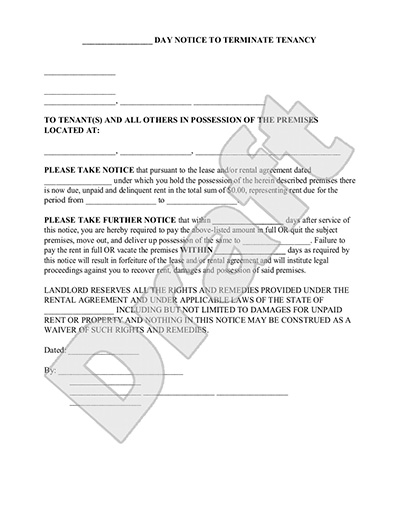 Eviction Notice Form   Day Notice To Vacate Letter To Tenant