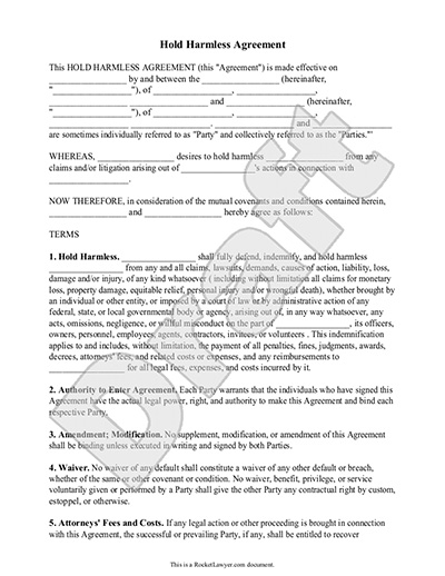 Hold Harmless Agreements Hold Harmless Agreement For