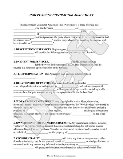 Independent Contractor Agreement Contract Form Rocket