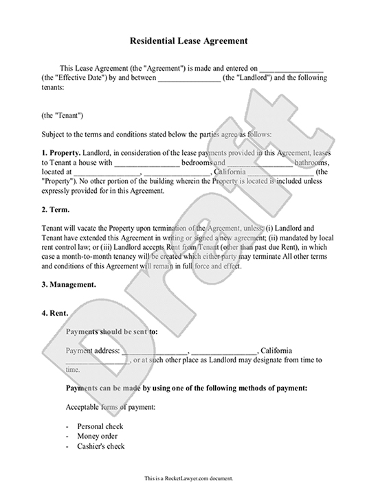 Lease Agreement Free Rental Agreement Form Contract – Residential Rent Agreement Format