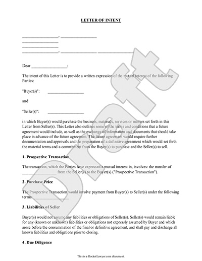 sample letter of intent form template