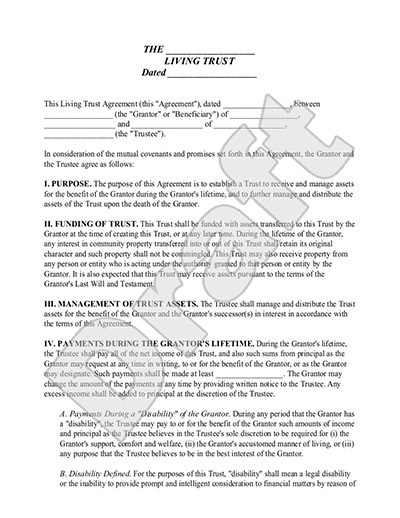 Living Trust Form  Sample Living Trust Template  Definition