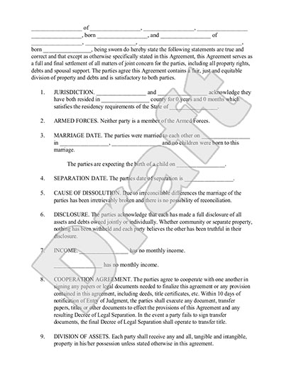 Legal Marriage Separation Agreement Template with Sample – Property Agreement Template