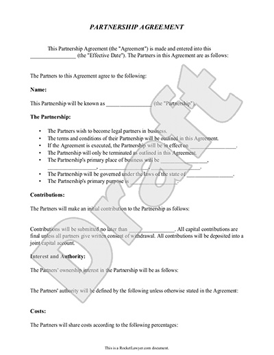 Partnership Agreement Template Form with Sample – Terms of Agreement Contract Template