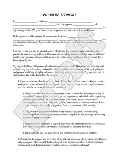 Power of Attorney Form POA Template – Sample Durable Power of Attorney Form