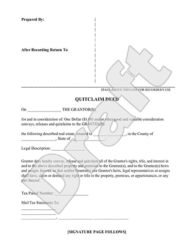 Sample Quit Claim Deed Form Template