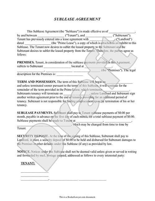 Sublease Agreement Form Sublet Contract Template with Sample – Rent to Own House Contract