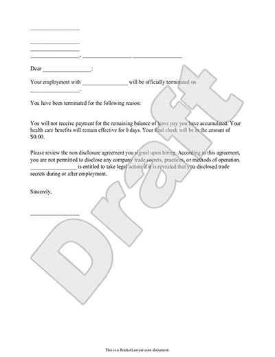 Termination Letter for Employee Template with Sample – Letters of Termination of Employment Examples