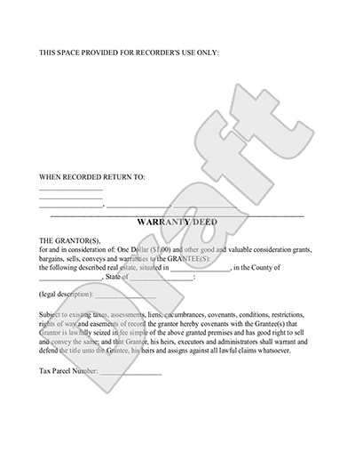 Warranty Deed Form  General Warranty Deed Template