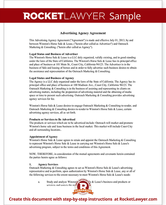 Advertising agency agreement contract sample template for Advertising contracts templates