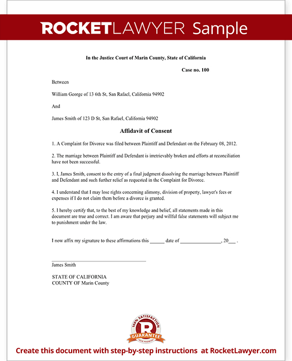 Affidavit Of Consent Form Divorce Affidavit Sample Template