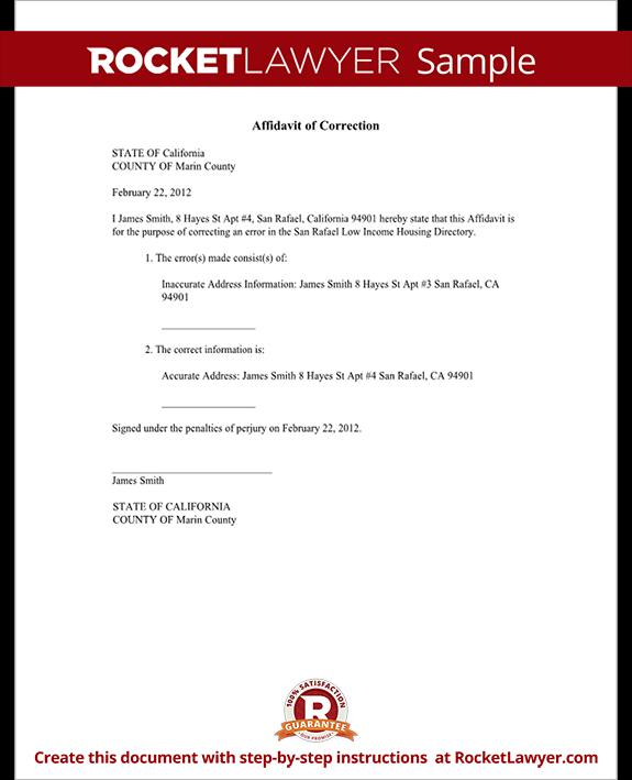 Affidavit Of Correction Form Correction Affidavit Sample