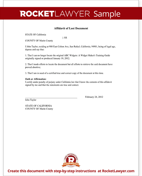 Affidavit of Lost Document Sample Template – Affidavit of Loss Template