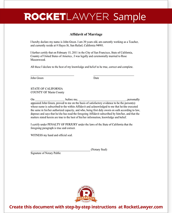 Affidavit of Marriage Form, Marriage Affidavit Letter Sample