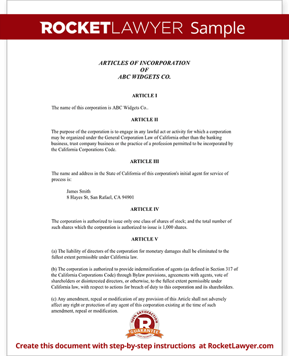 articles of incorporation template articles of incorporation for california with sample 20506 | Sample Articles of Incorporation for California Form Template
