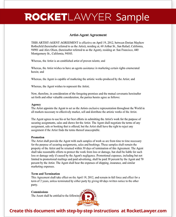 Artist Agent Agreement Form ArtistAgency Agreement Sample – Agent Contract Agreement