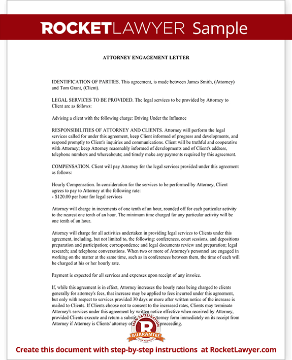 Attorney Engagement Letter for Law Firm Client Engagement – Letter of Engagement Template Free