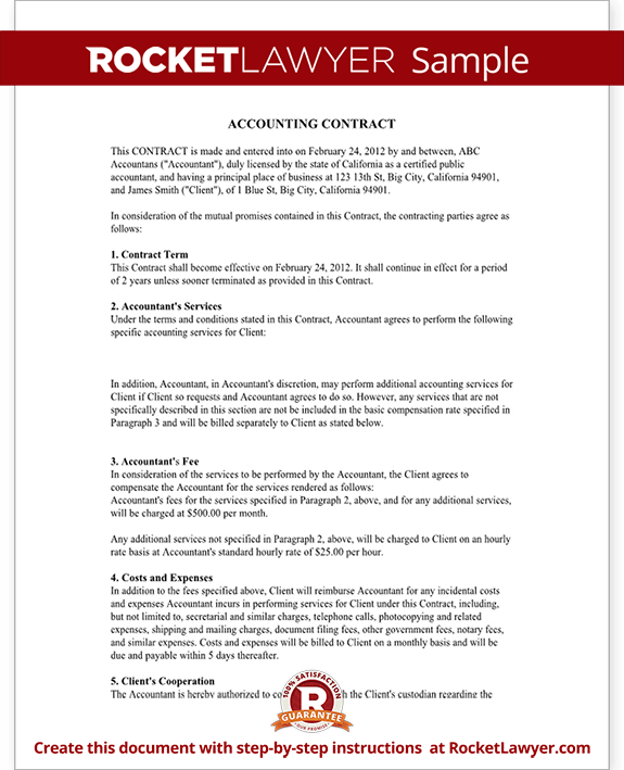 Bookkeeping contract agreement with template for Proposal for bookkeeping services template