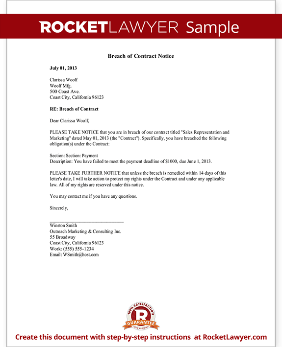 Breach Of Contract Notice Amp Sample Letter Rocket Lawyer