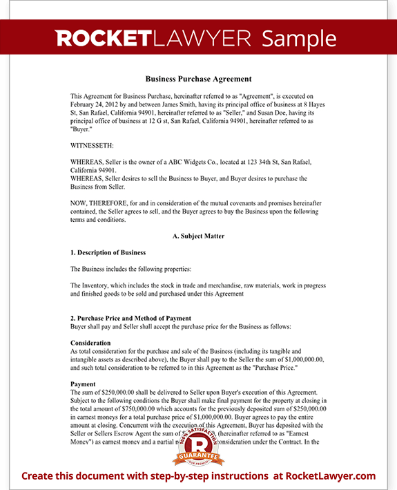 Business Purchase Agreement Contract Form with Template Sample – Free Business Purchase Agreement