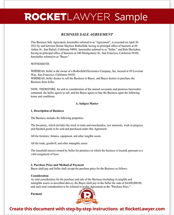 Business Sale Agreement Contract Form with Template Sample – Sale of Business Agreement