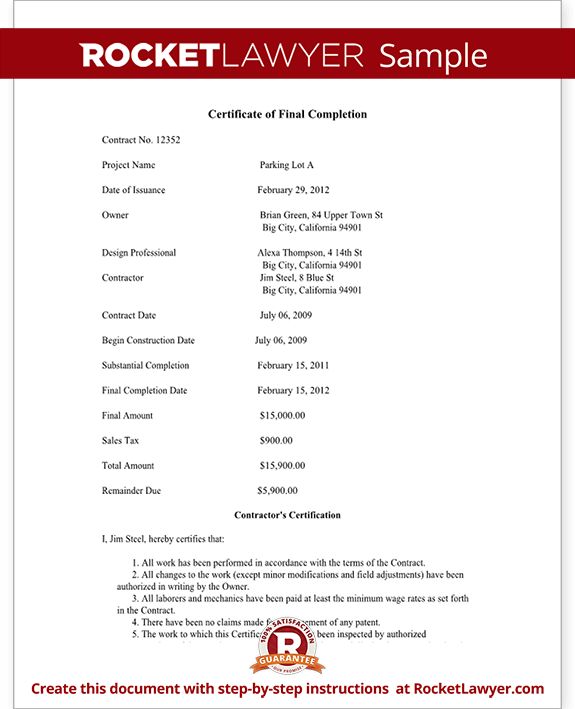 Certificate of Final Completion Form For Construction Project – Certificate of Completion Sample