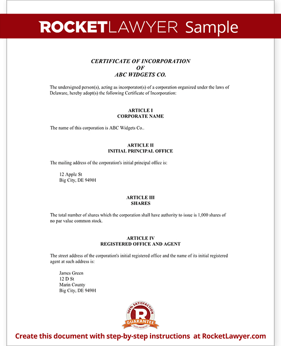 certificate of incorporation for delaware with sample