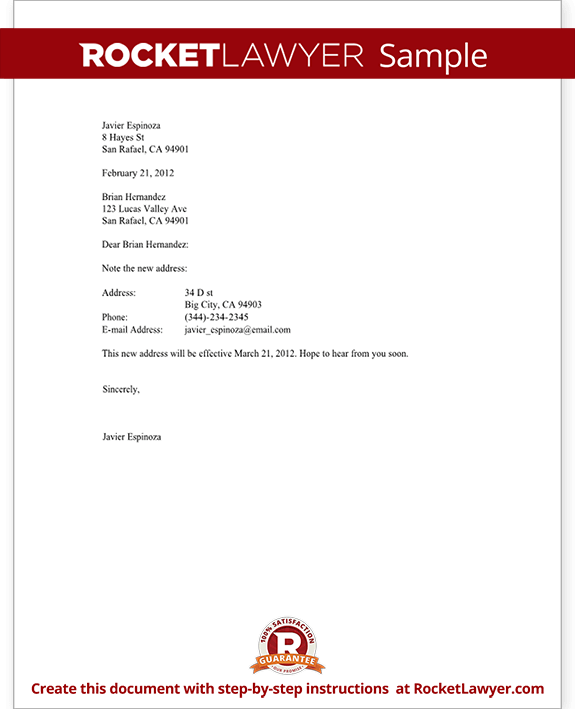 Sample change of address letter form template png