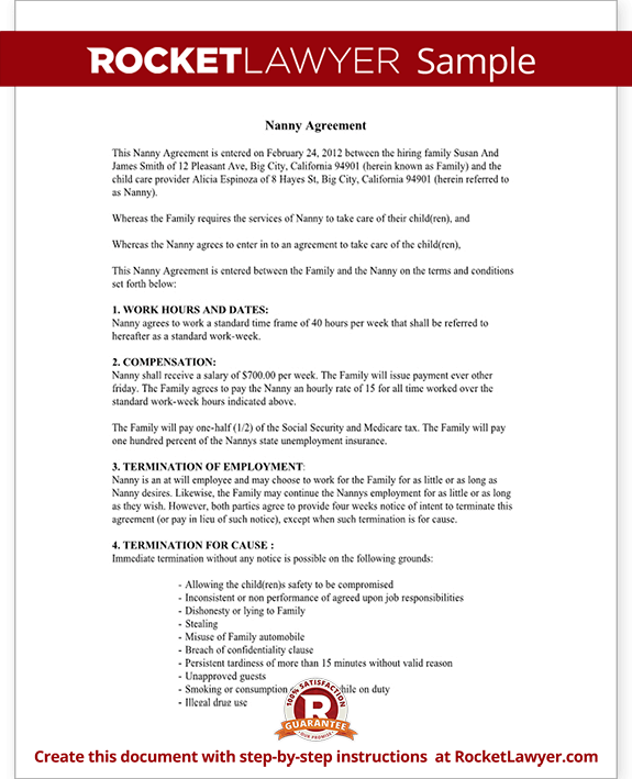 Child care contract agreement form with sample for Will template new york