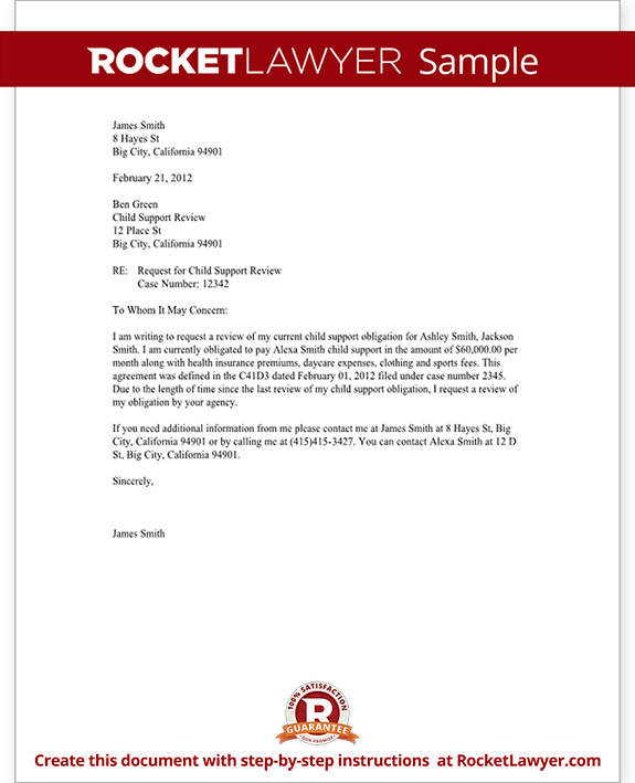 sample child support review letter