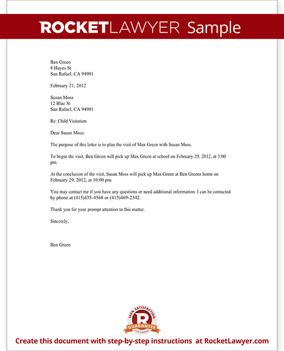 Child Visitation Letter with Sample – Enquiry Letter Format