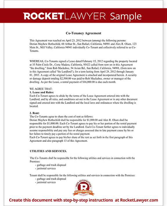 CoTenancy Agreement Form CoTenant Contract Sample – Sample Tenancy Contract