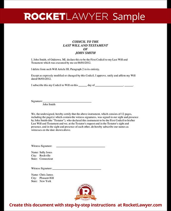 Codicil to Will - Codicil Form for Amending a Will