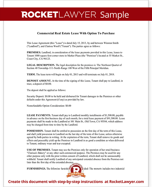 Commercial Real Estate Lease Agreement with Option to Purchase – Simple Commercial Lease Agreement Template