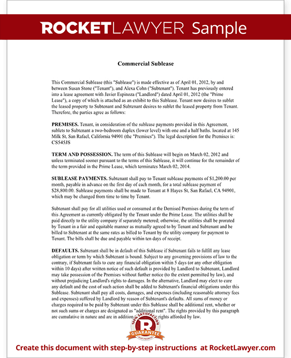 subletting lease agreement template - commercial sublease agreement office space sublease