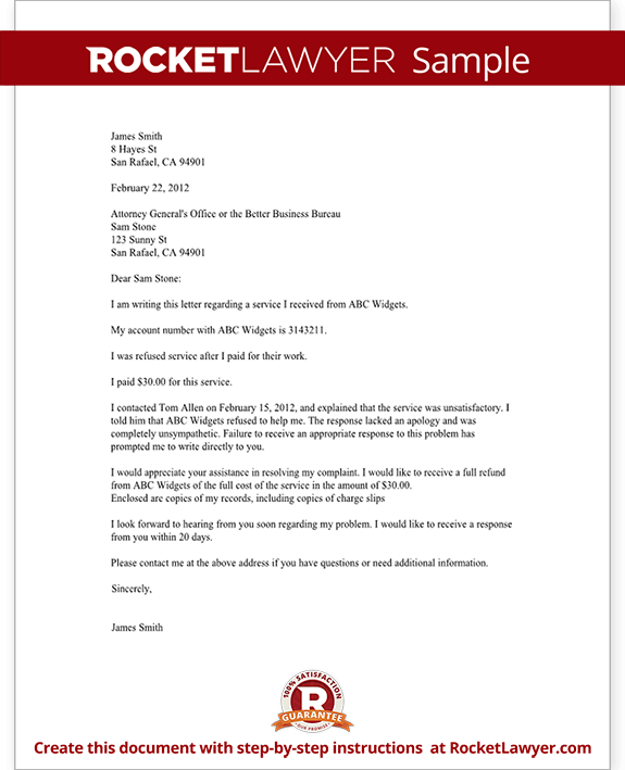 sample complaint letter to a bbb or attorney general