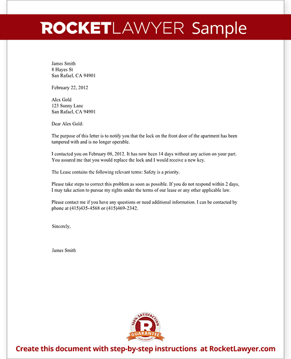 Complaint letter to landlord template with sample for Complaint letter to landlord template