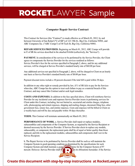 computer service contract - repair computer template, Invoice templates