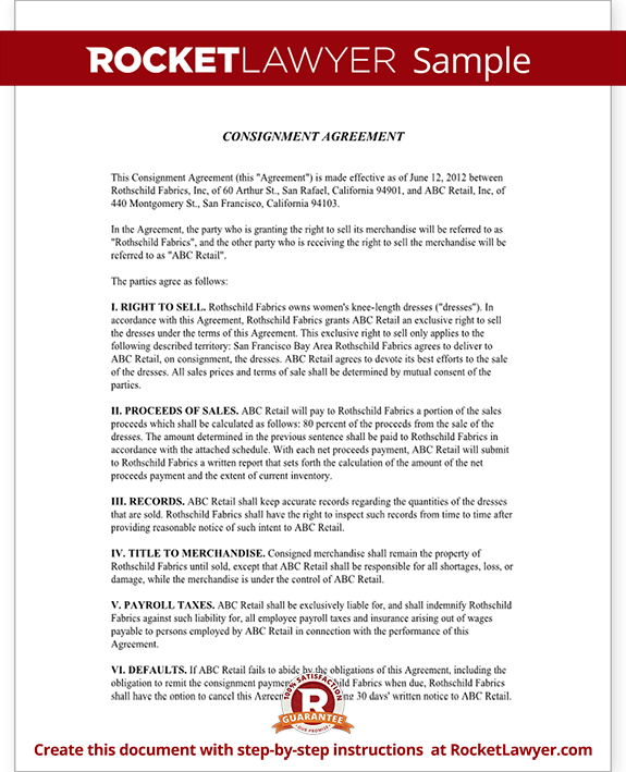 Consignment Agreement Contract Sample – Sample Consignment Agreement