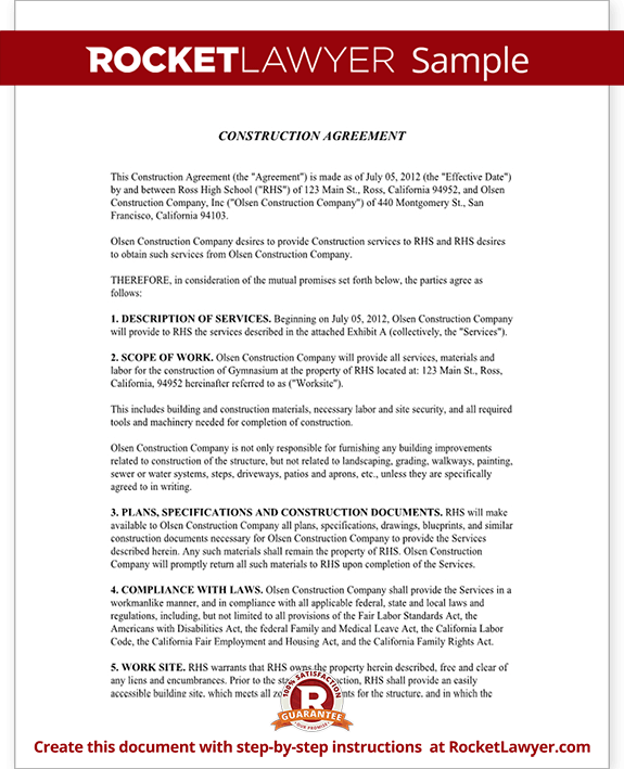 Construction contract template construction agreement form for Home builder contracts