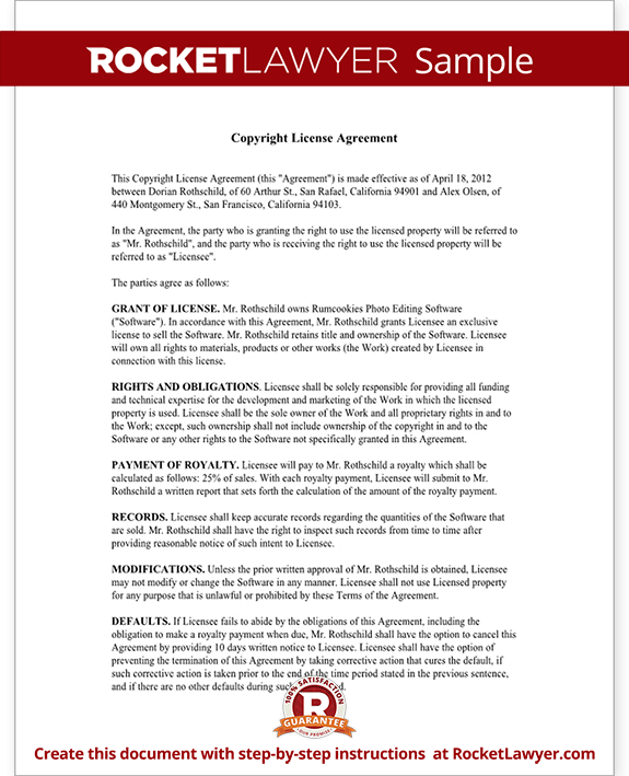 Copyright license agreement license copyright template for Royalty free license agreement template