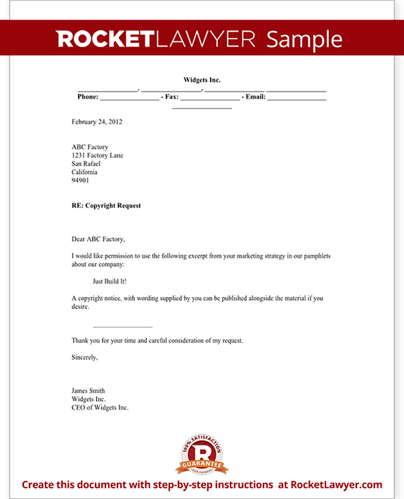 material letters template - copyright request letter form with sample