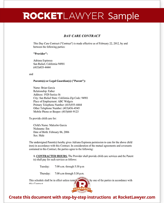 Day Care Contract Agreement with Sample