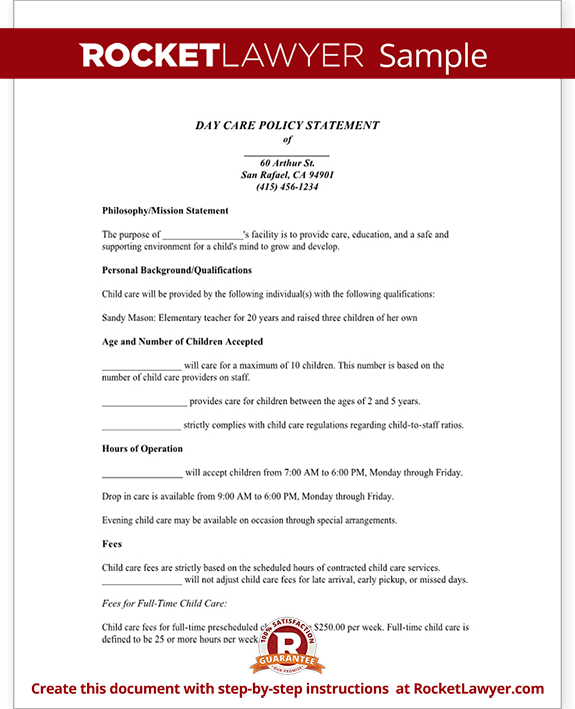 Day Care Policy Statement (Form With Sample)